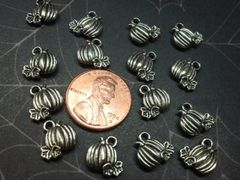 3D Pumpkin #1 Metal pumpkin Holiday Charm for nail or other decorations (pack of 2)