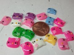 3D Hello Kitty #2 Med size Hello Kitty Head for cell phone and nail decoration (pack of 3 Dark Pink)