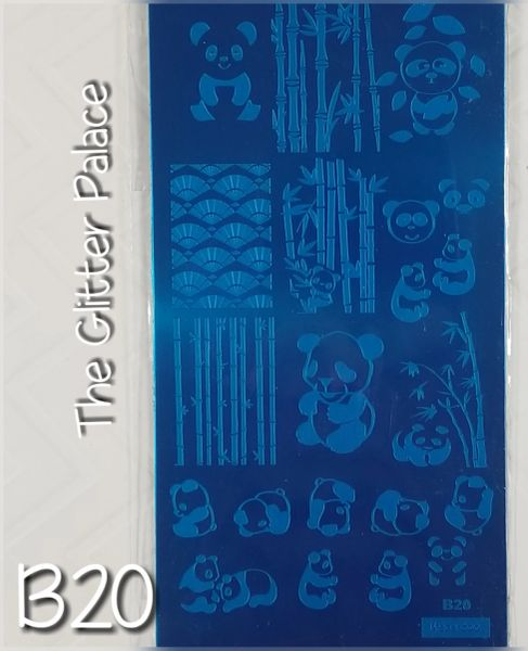 Stamping Plate (B20) Panda Bears