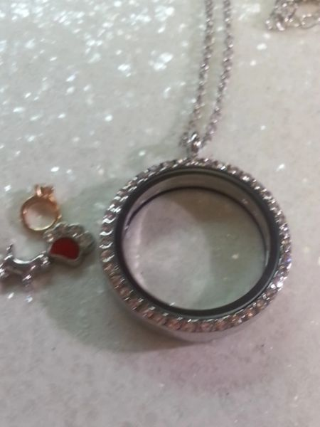 Living Locket or Floating Locket Necklace- Round,with stones-