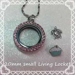 Living Locket or Floating Locket Necklace- small circle with Pink stones- (charms not included)