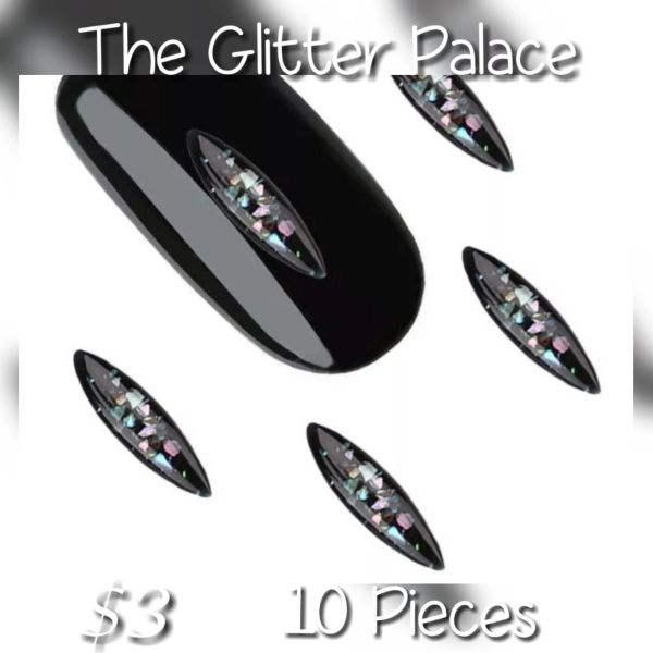 Black Sparkle Nail Decoration (10 pieces)