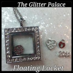 Living Locket or Floating Locket Necklace- Square, with stones- (charms not included)