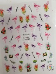 Tropical Flowers, Pink & Purple Flamingo Stickers ( CA-049)