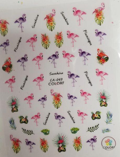 Tropical Flowers, Pink & Purple Flamingo Stickers ( CA-049)