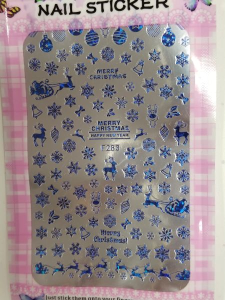 Winter Blue Snowflakes & Reindeer Sticker (F283)