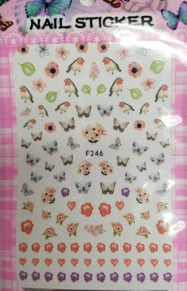 Flower, Butterflies & Birds Stickers (F246)