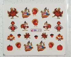 Turkey, Pumpkin, Acorn Waterslide Decal (BN-372)