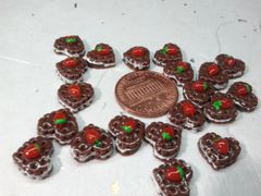 3D Food Cake #2 Chocolate Heart Shaped Cake with a strawberry (pack of 3)