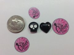 3D Skull & Heart set. Large Charm for cell phone decoration (2 piece set)