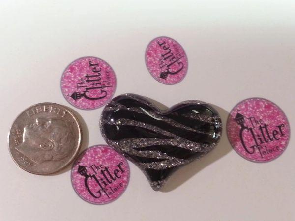 3D Heart #7. Silver Zebra Large Heart (1 piece)