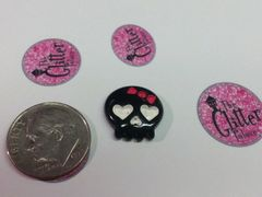 3D Skull #1. Black & White Skull Charm with Pink Bow (pack of 2)