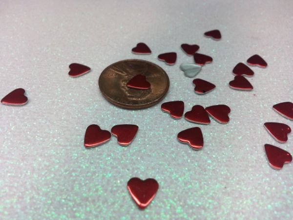 3D Heart #8 Metallic Flat metal hearts perfect for nail decoration. (pack of 25)