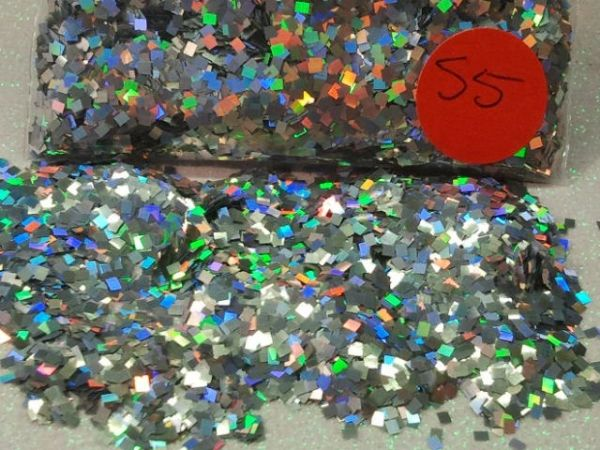 S5 Holographic Silver (Squares) Solvent Resistant Glitter