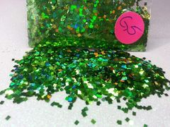 G5 Holographic Parrot Green Squares Solvent Resistant Glitter