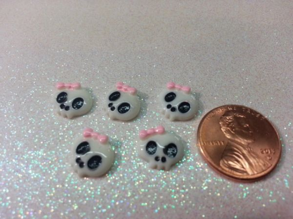 3D Skull #3 White with Pink Bow Nail Charm (pack of 3)