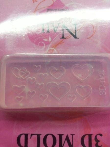 3D Mold- Double Heart #M7- Make your own 3D Nail Decorations