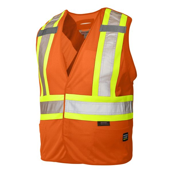 Work King 5-Point Tearaway Vest with Reflective Stripes. Class 2 (3 pack); Style: S9i0