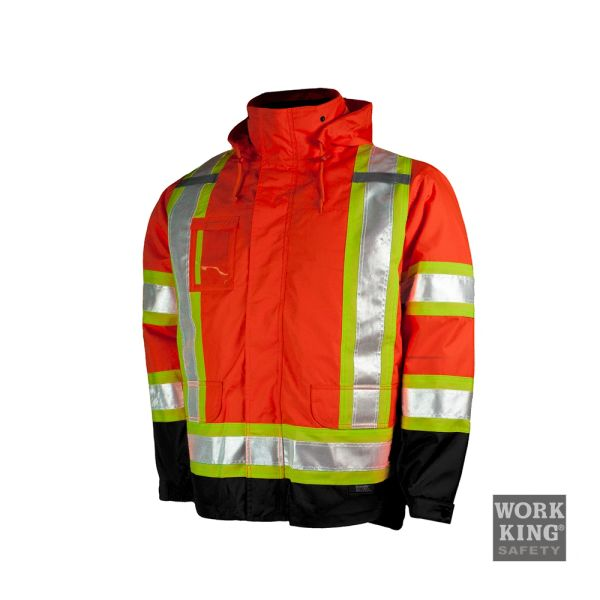 Work King Hi-Viz Lined 5-in-1 Jacket with 3M™ Scotchlite™ Reflective Material; Style: S426