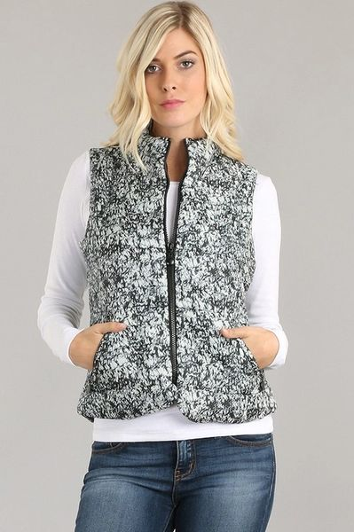 Black and White Marbled Puffer Vest