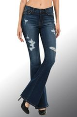 High Waist ULTRA Soft Stretch Flare Denim with Light Distressing