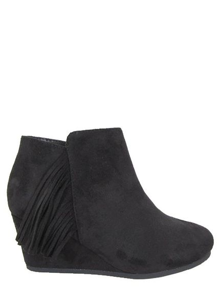 ***KIDS*** Black Wedge Bootie with Fringe