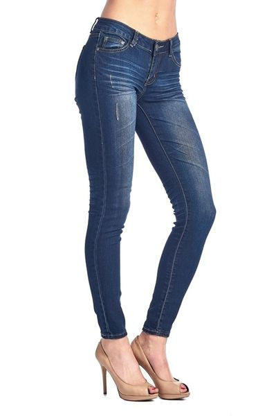 Medium Wash Butt Lifting Skinny Jeans with Minor distressing