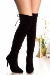 Alexa Black Faux Suede Over the Knee/ Thigh High Heeled Boots