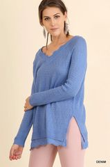 Periwinkle Blue Light Weight Sweater with Lace Under Lay