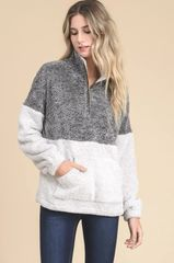 Color Block Faux Sherpa Quarter Zip Pull Over
