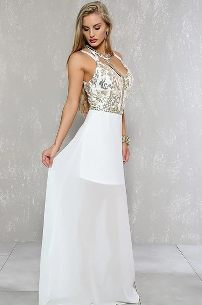 Ivory Formal Maxi Dress with Gold Sequin Detail