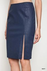 Navy Faux Leather Textured Pencil Skirt with Side Slit