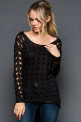 Crochet Large Loop Sweater with Slight Sequin Detail