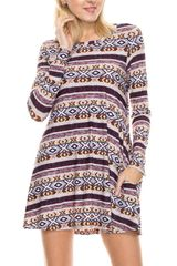 Multi Color Aztec Style Print Swing Dress/ tunic