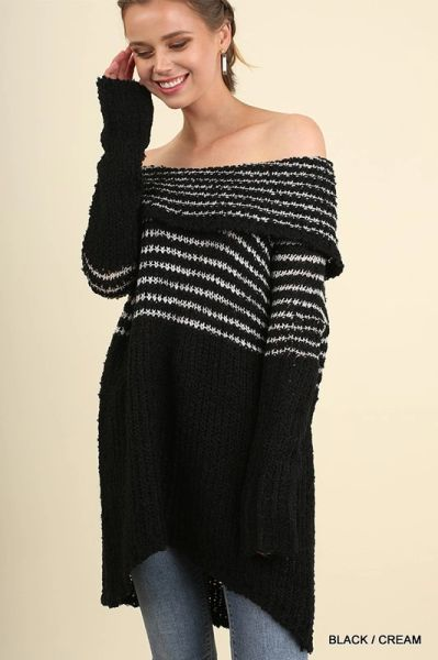 Off the Shoulder Knit Black with Cream Stripe Tunic Dress