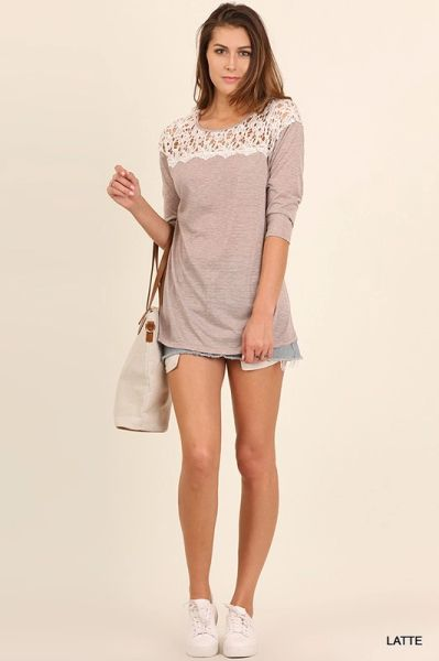 3/4 Sleeve Striped Tunic with Crochet Lace Neckline