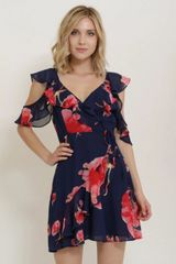 Sunday Service Floral Cold Shoulder Dress