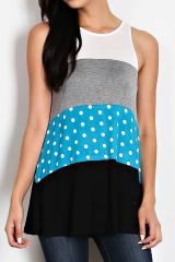 Dibs on the Dots Sleeveless Color Block Tunic
