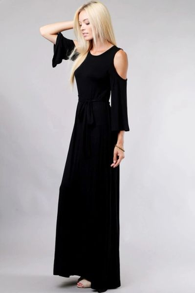 Lady In Black Cold Shoulder Maxi Dress with Tie Belt
