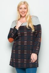 Multi Plaid Tunic with Faux Suede Elbow Patch