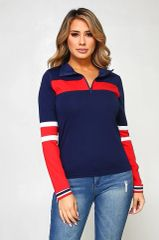 1/4 Zip Athletic Style Pull Over in Red, White and Navy Color Blocking