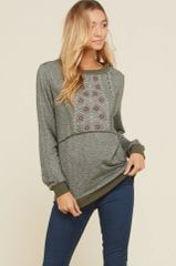 Erica Heathered Olive Embroidered Bib Light Weight Knit Sweater