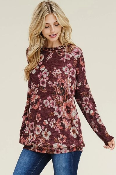 Burgundy Floral Tunic with Pockets