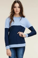 Robyn Blue Mix Color Block Knit Sweater