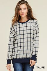 Navy & Taupe Check Crew Neck Sweater