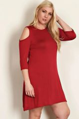Red Cold Shoulder Tunic Dress