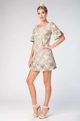 Taupe and Cream Lace Mini Dress with Ruffle Sleeve Detail