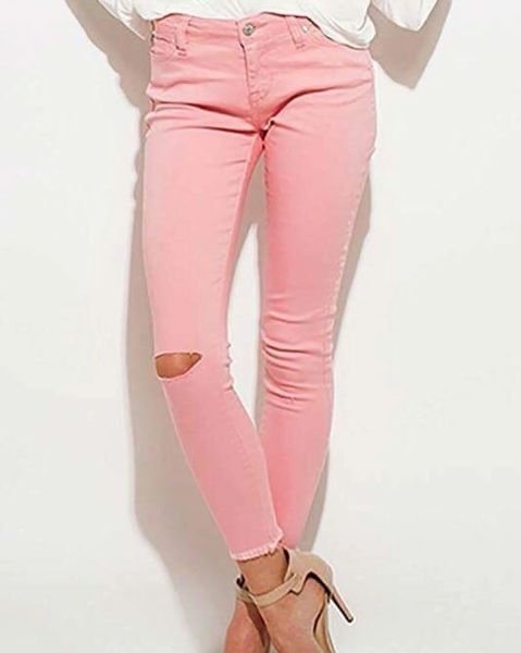 Blush Distressed Raw Hem Denims