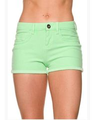 Neon Summer Denim Shorts with Cuffed Hem