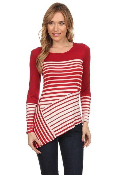 Asymmetrical hem line stripe top